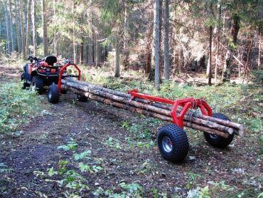 Transportador de troncos ATV con soporte trasero y cabestrante