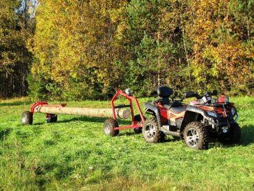 Transportador de troncos ATV con soporte trasero y cabestrante manual